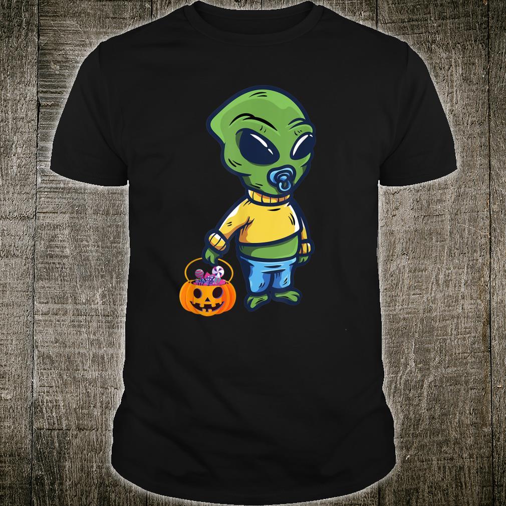 Baby Alien Holding a Pumpkin Halloween Costume Shirt