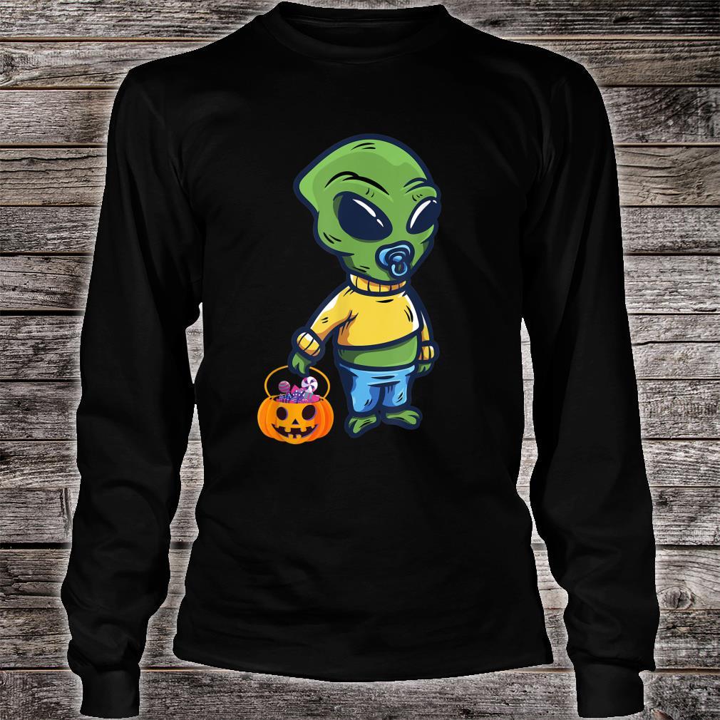 Baby Alien Holding a Pumpkin Halloween Costume Shirt long sleeved