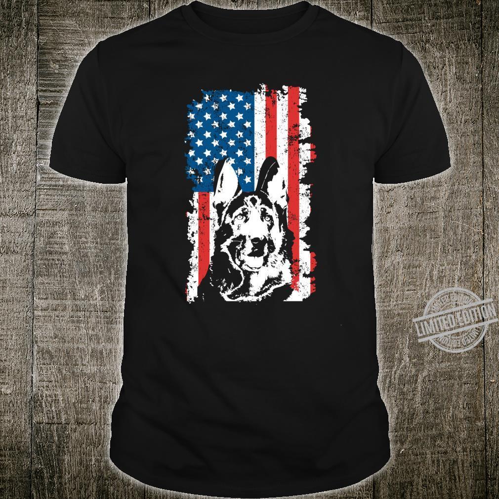 Deutscher Schäferhund Amerikanische Flagge 4. Juli Shirt