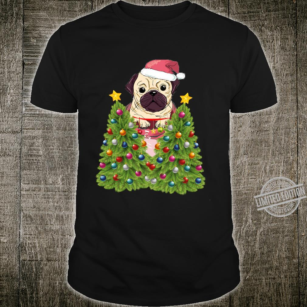 French bulldog Santa Christmas Tree Lights Xmas Shirt