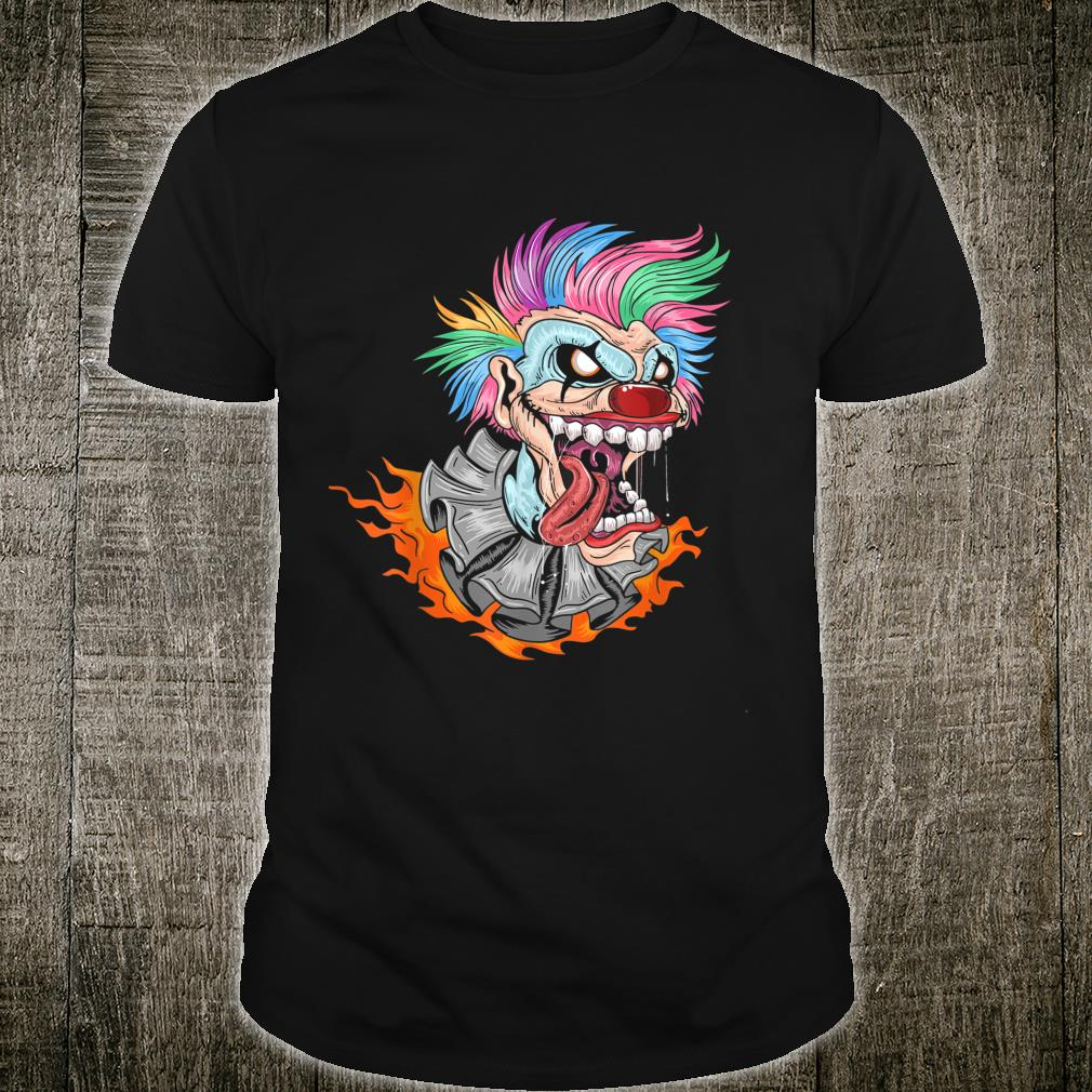 Halloween Laughing clown with rainbow colored hair and fire Shirt
