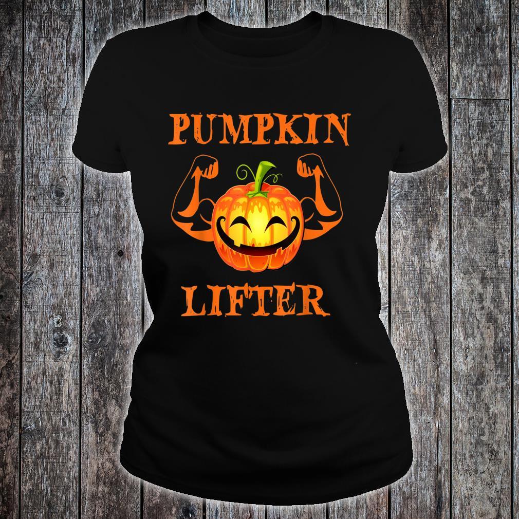 Halloween Pumpkin lifter design Shirt ladies tee