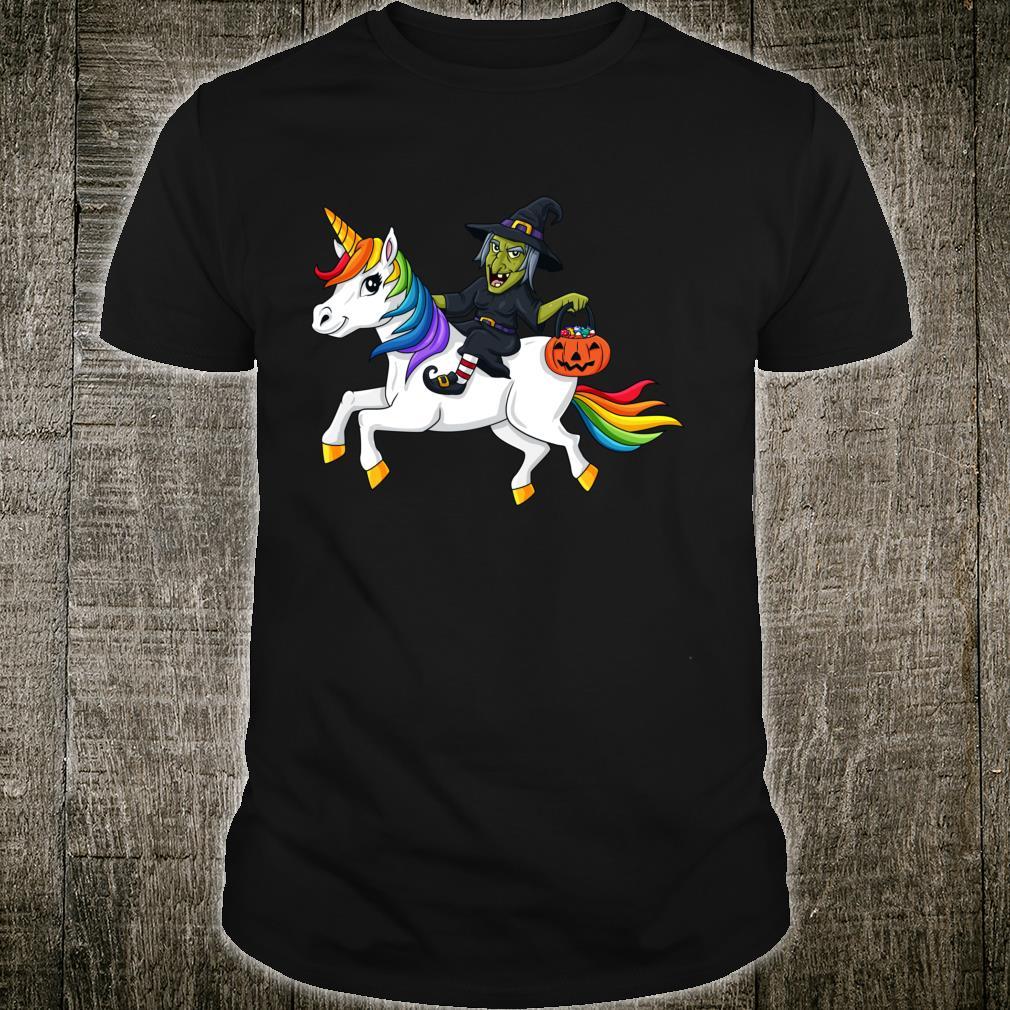 Halloween Witch Riding Unicorn Shirt
