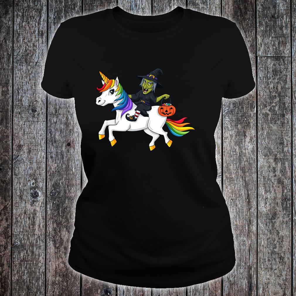 Halloween Witch Riding Unicorn Shirt ladies tee