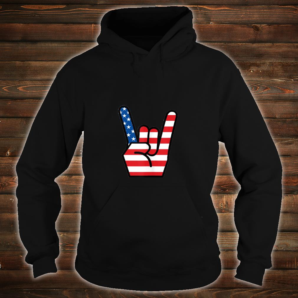 Hand Sign of the Horns American Flag Design Shirt hoodie