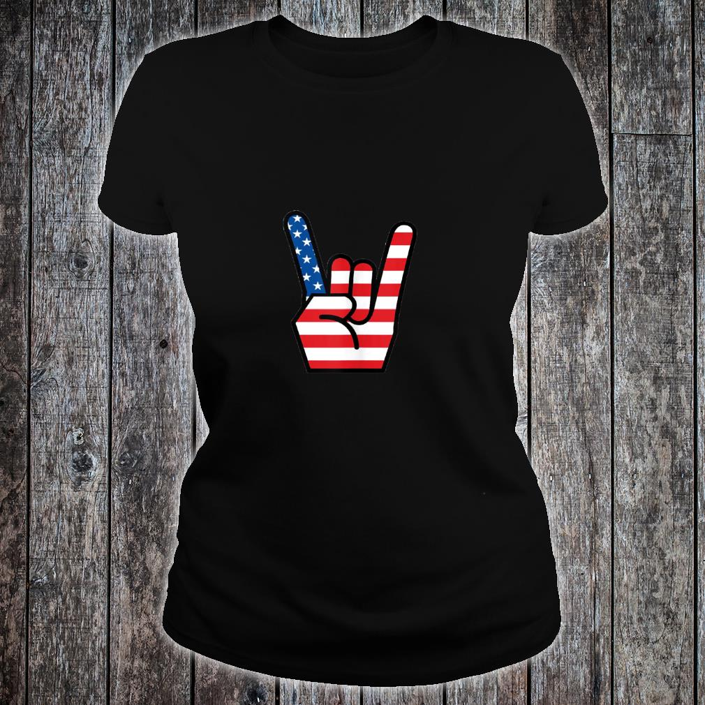 Hand Sign of the Horns American Flag Design Shirt ladies tee