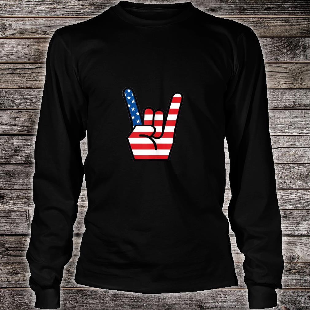 Hand Sign of the Horns American Flag Design Shirt long sleeved