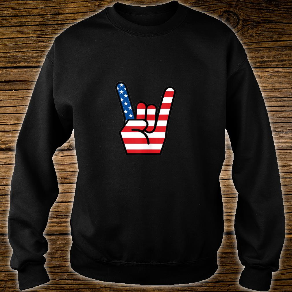 Hand Sign of the Horns American Flag Design Shirt sweater