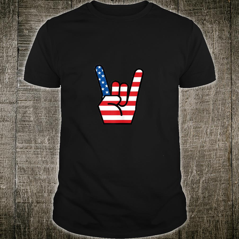 Hand Sign of the Horns American Flag Design Shirt