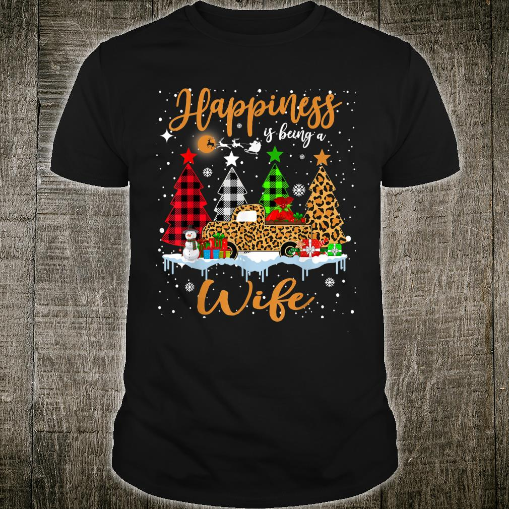 Happiness Is Being A Wife Christmas Tree Leopard Truck Shirt