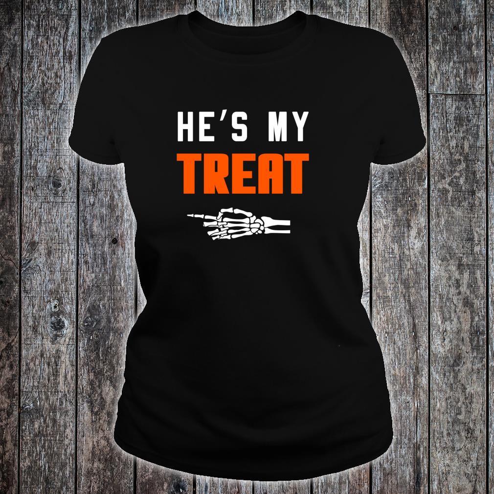 He's My Treat Matching Couples Halloween Shirt ladies tee