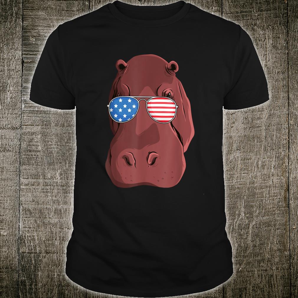 Hippo 4th of July American USA Patriotic Shirt