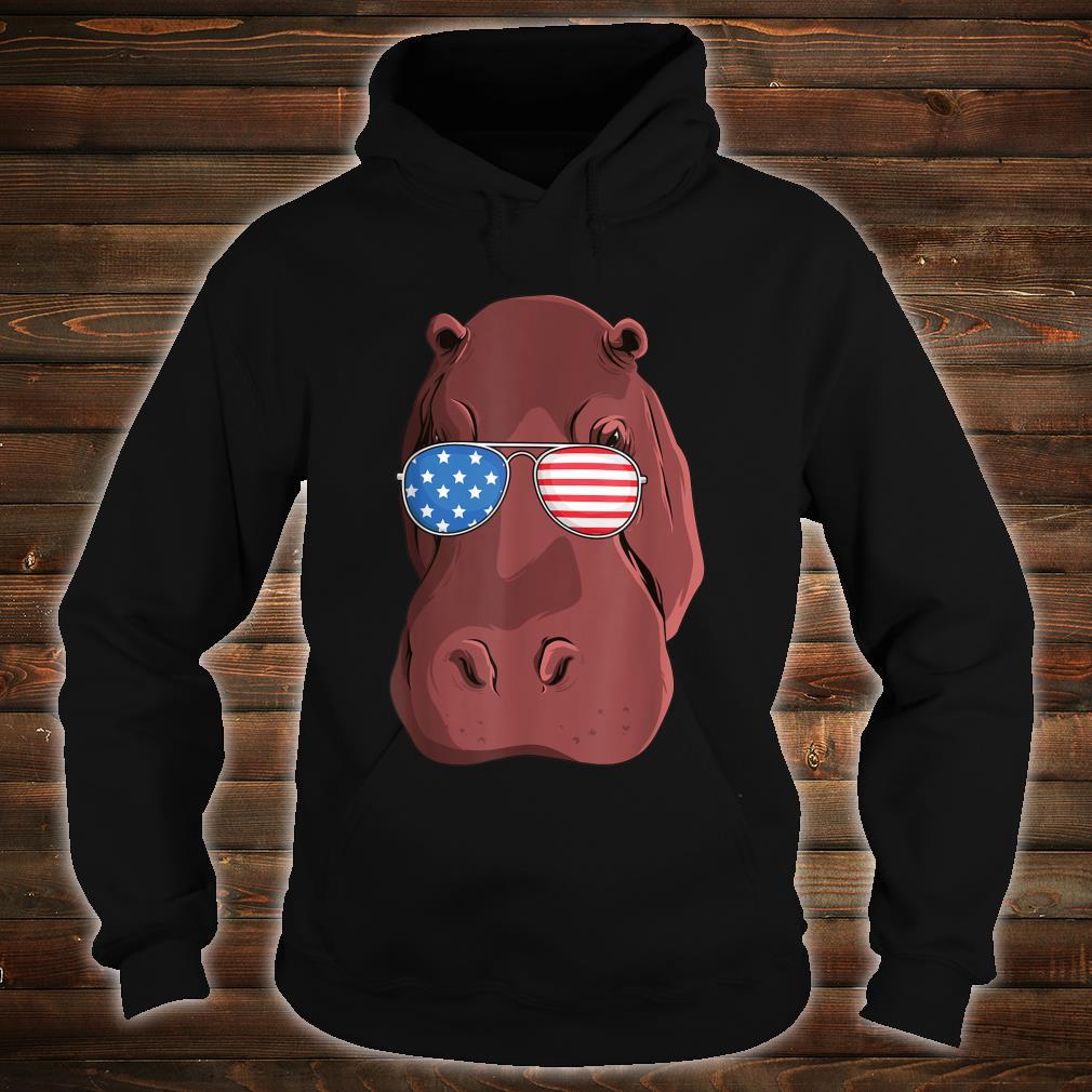 Hippo 4th of July American USA Patriotic Shirt hoodie