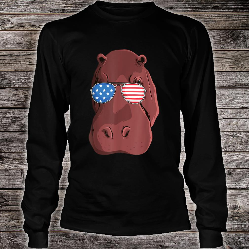 Hippo 4th of July American USA Patriotic Shirt long sleeved