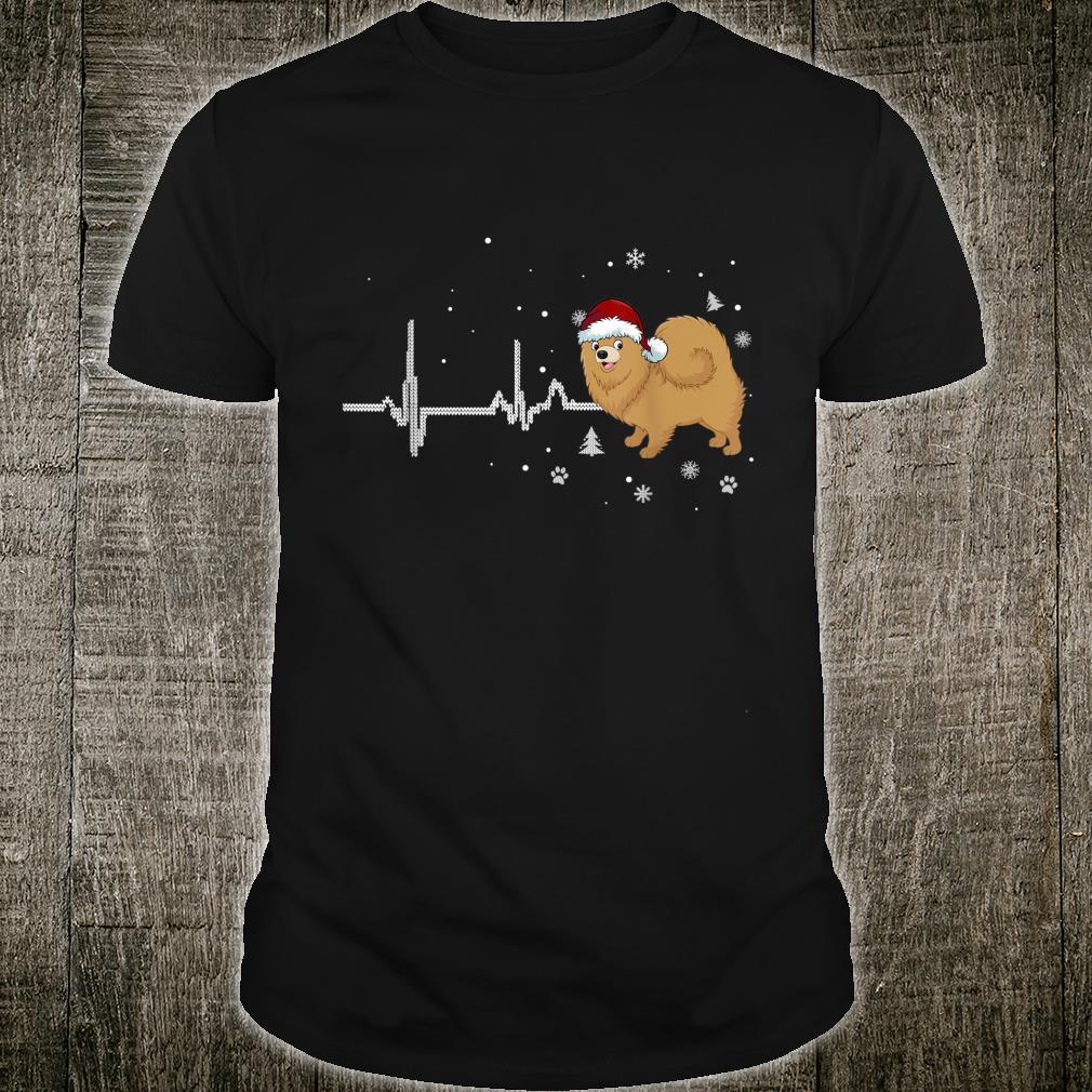 I Love My Pomeranian Heartbeat Cute Christmas Dog Shirt