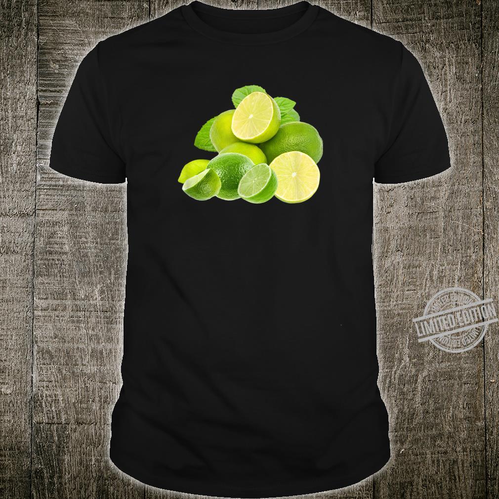 KalkFruchtDruck auf einem Limettengrün Shirt