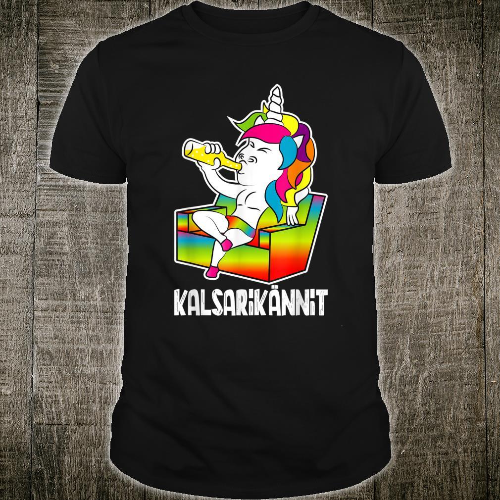 Kalsarikännit Finnland Einhorn Bier Saufen Shirt
