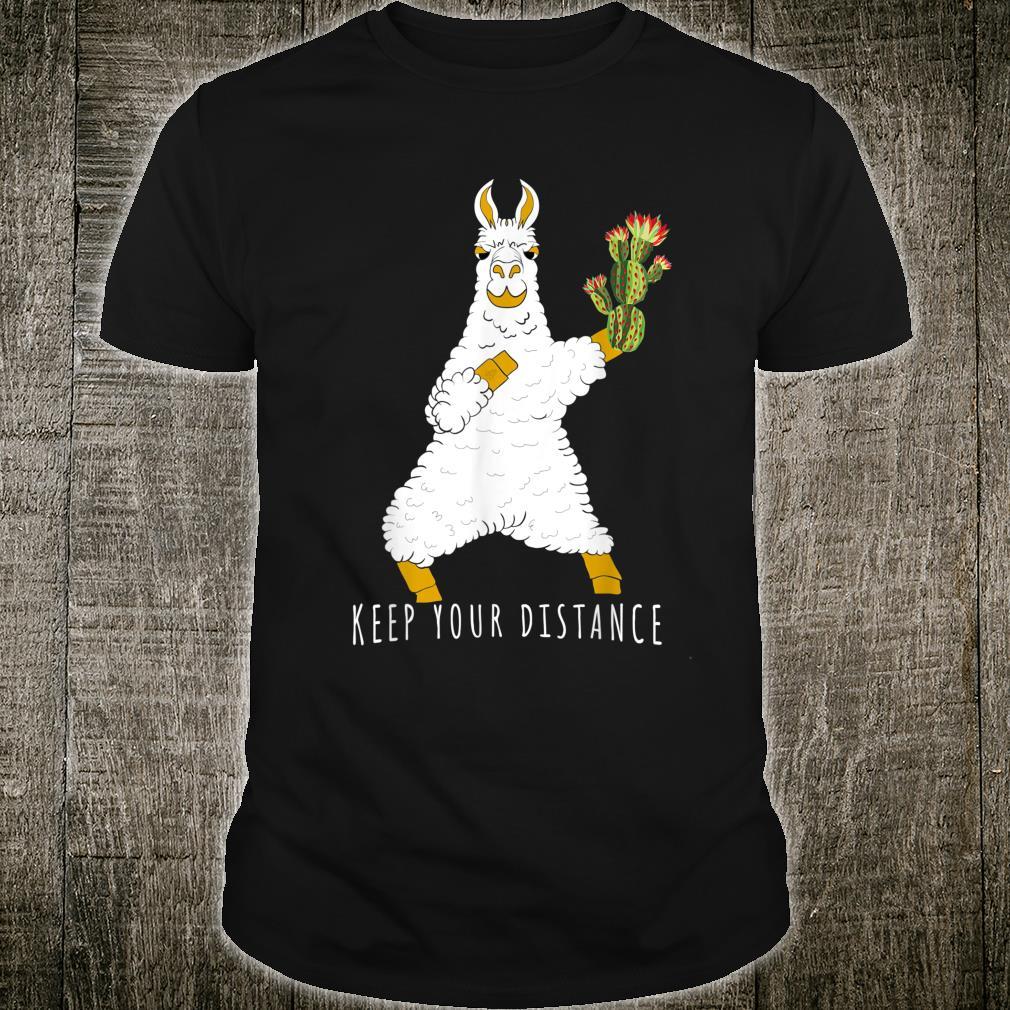 Keep Your Distance Llama and Cactus Social Distancing Shirt