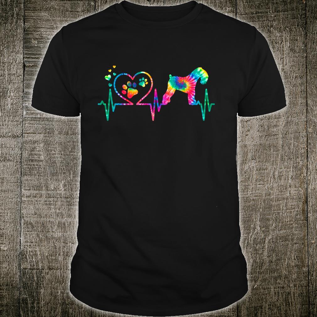 Kerry Blue Terrier Mom Dad Heartbeat Tie Dye Dog Shirt