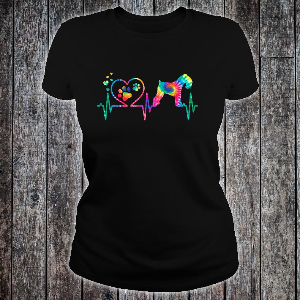 Kerry Blue Terrier Mom Dad Heartbeat Tie Dye Dog Shirt ladies tee