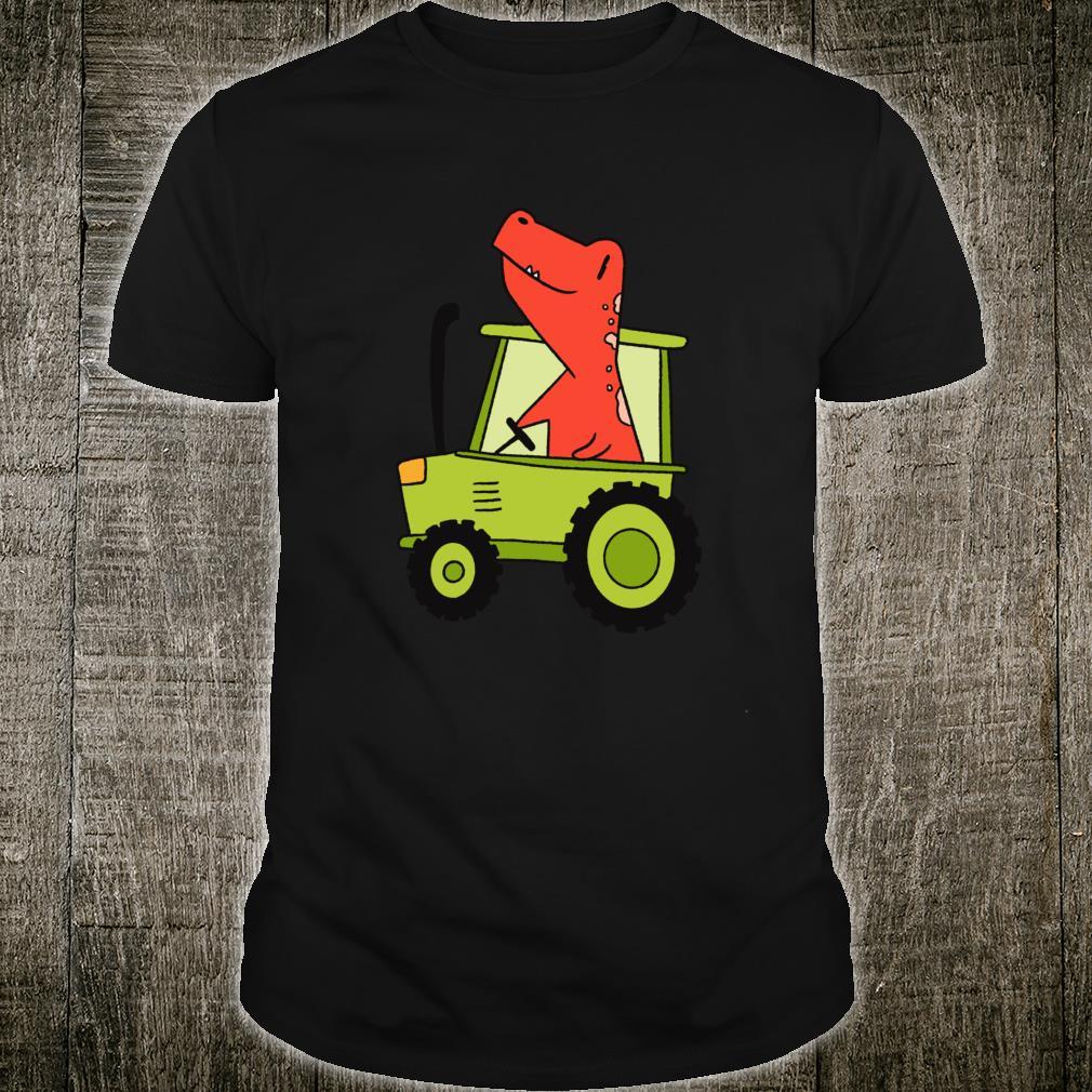 Kids Dinosaur Green Tractor T Rex Truck Driver Farmer Shirt