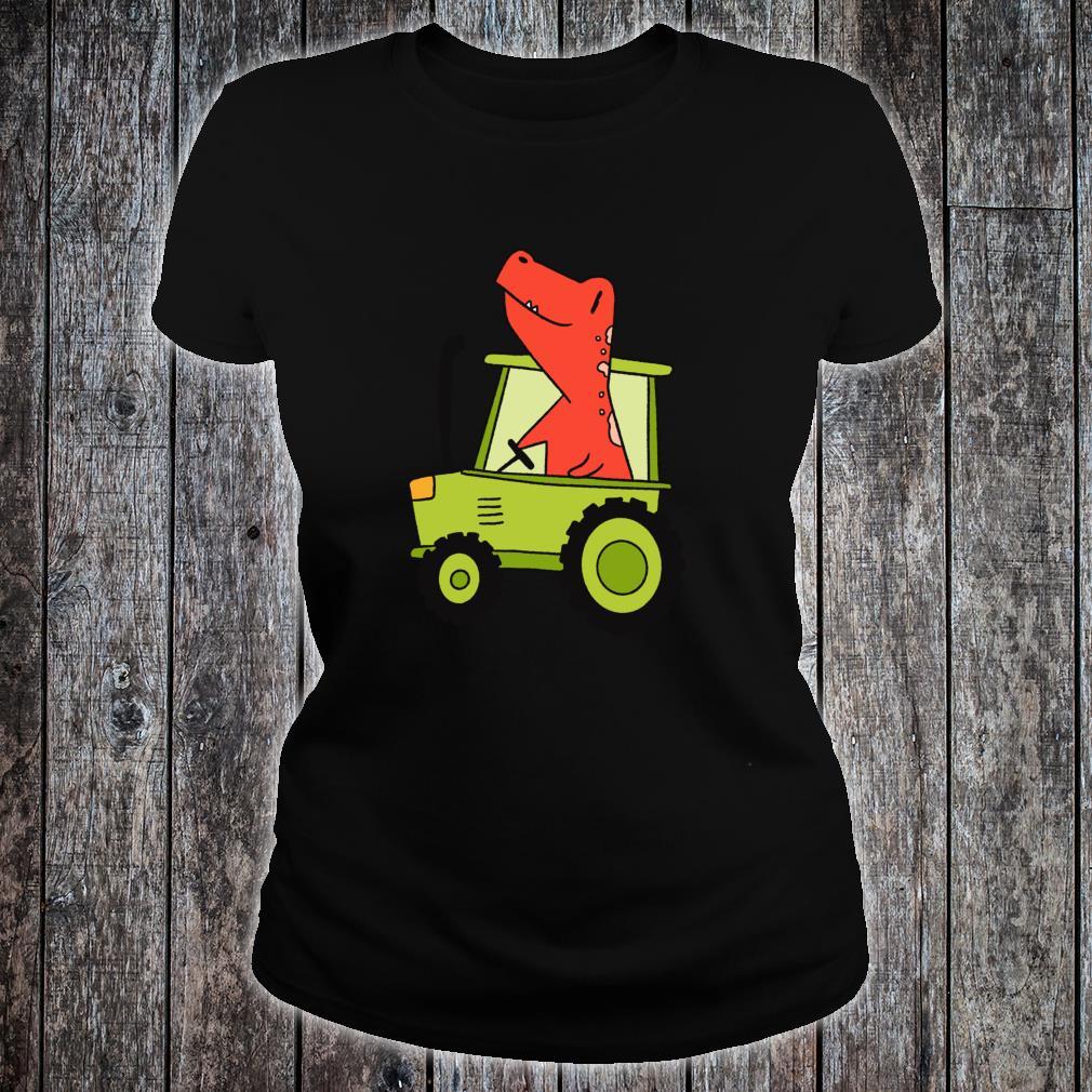Kids Dinosaur Green Tractor T Rex Truck Driver Farmer Shirt ladies tee