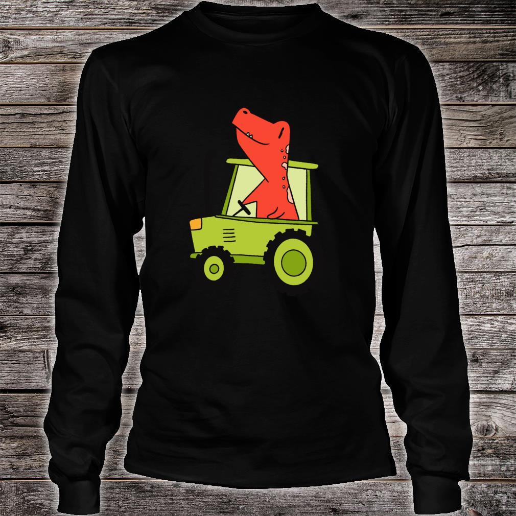 Kids Dinosaur Green Tractor T Rex Truck Driver Farmer Shirt long sleeved