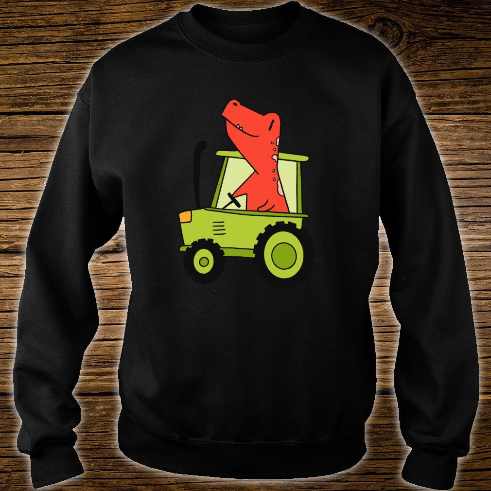 Kids Dinosaur Green Tractor T Rex Truck Driver Farmer Shirt sweater