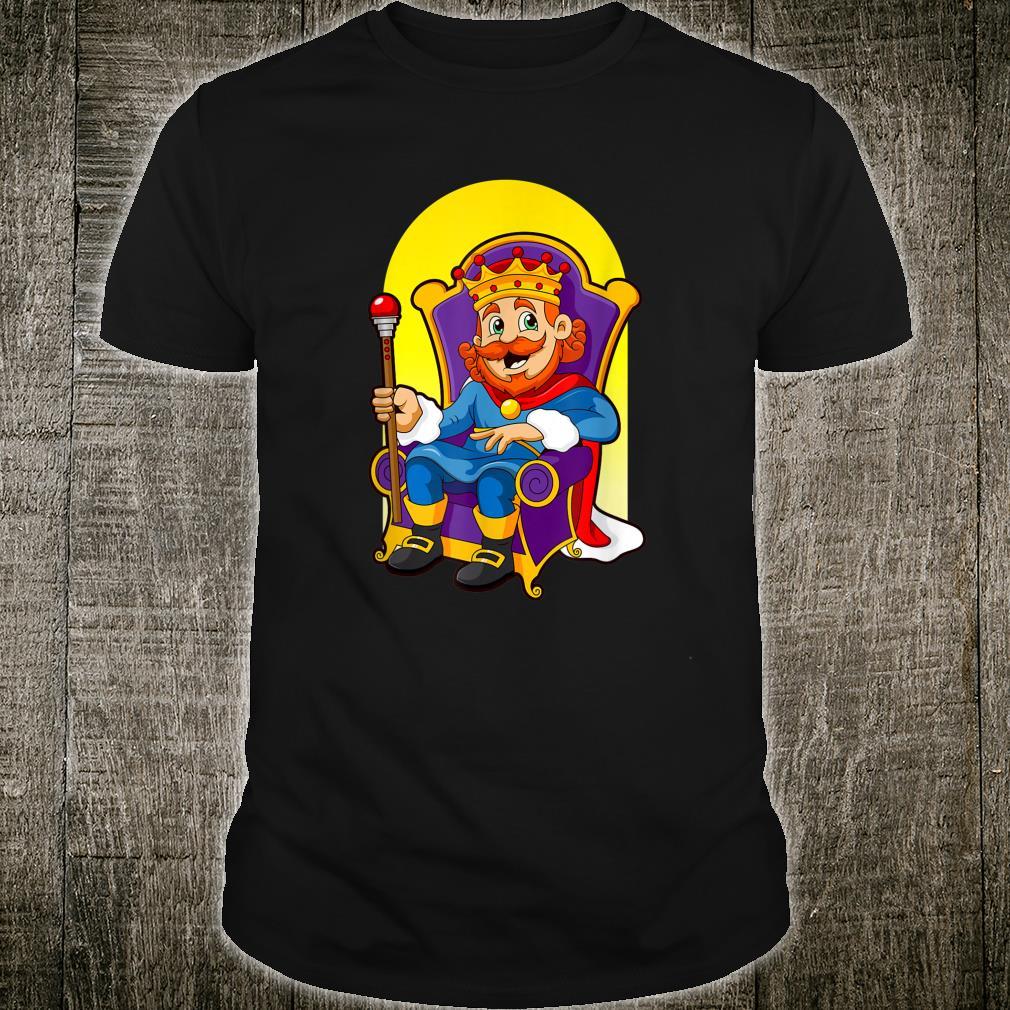 König mit Zepter und Krone auf seinem Thron Comic Cartoon Shirt