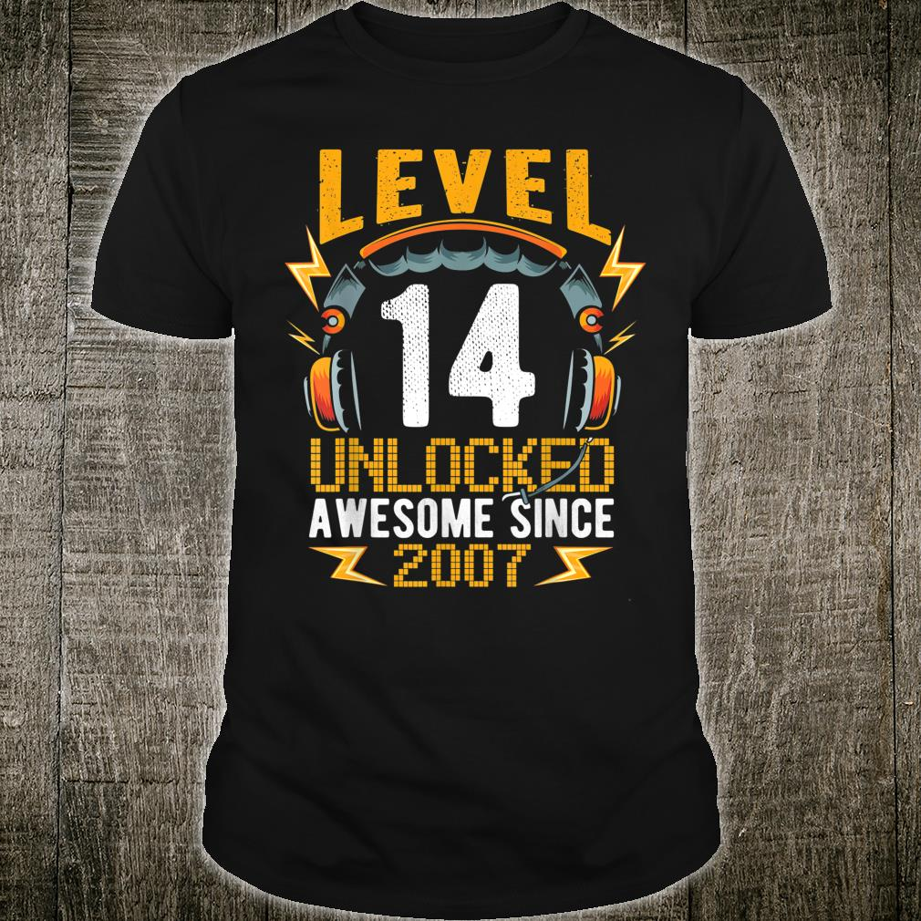 Level 14 Unlocked Awesome Since 200714th Birthday Gaming Shirt