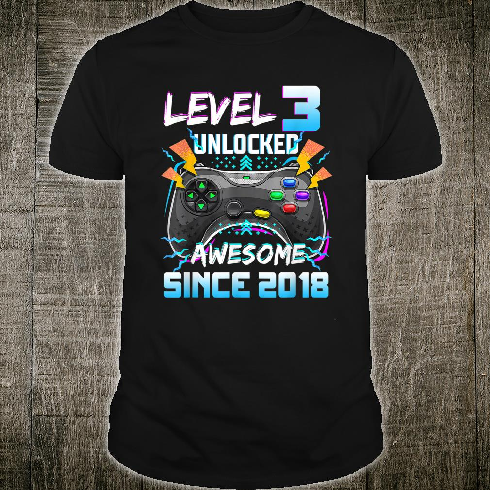 Level 3 Unlocked Awesome 2018 Video Game 3Rd Bday Shirt