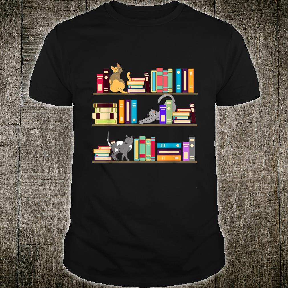 Library cats kittens reader books pet shelf Shirt
