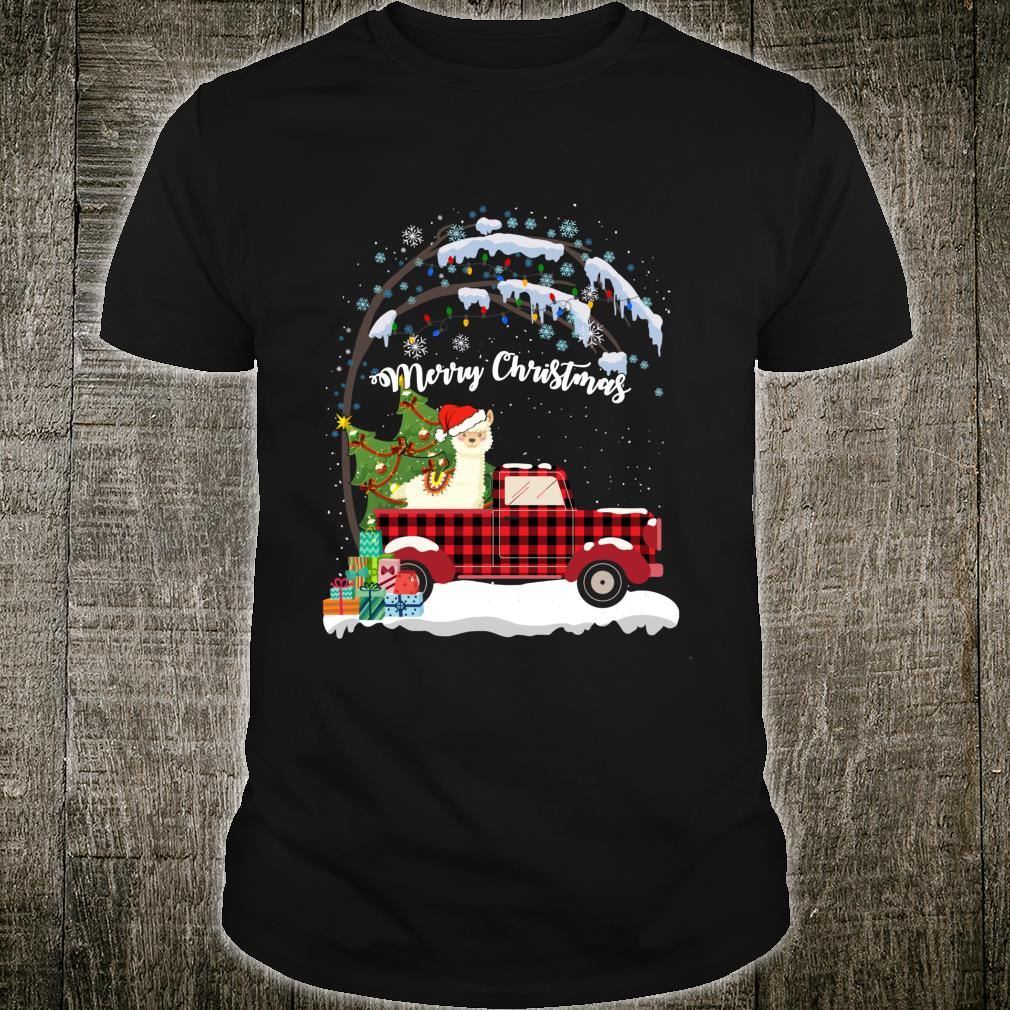 Llama Christmas Truck Tree Mom Dad Dog Shirt