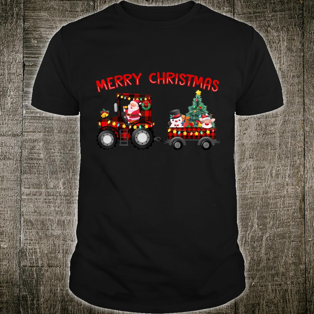 Merry Christmas Santa Riding Buffalo Plaid Tractor Farmer Shirt