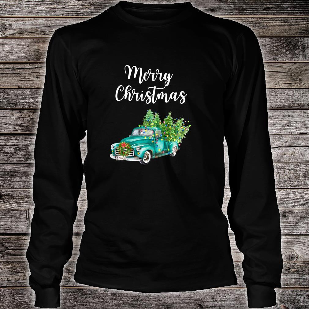 Merry Christmas Vintage Truck Christmas Rustic Farm Truck Shirt long sleeved