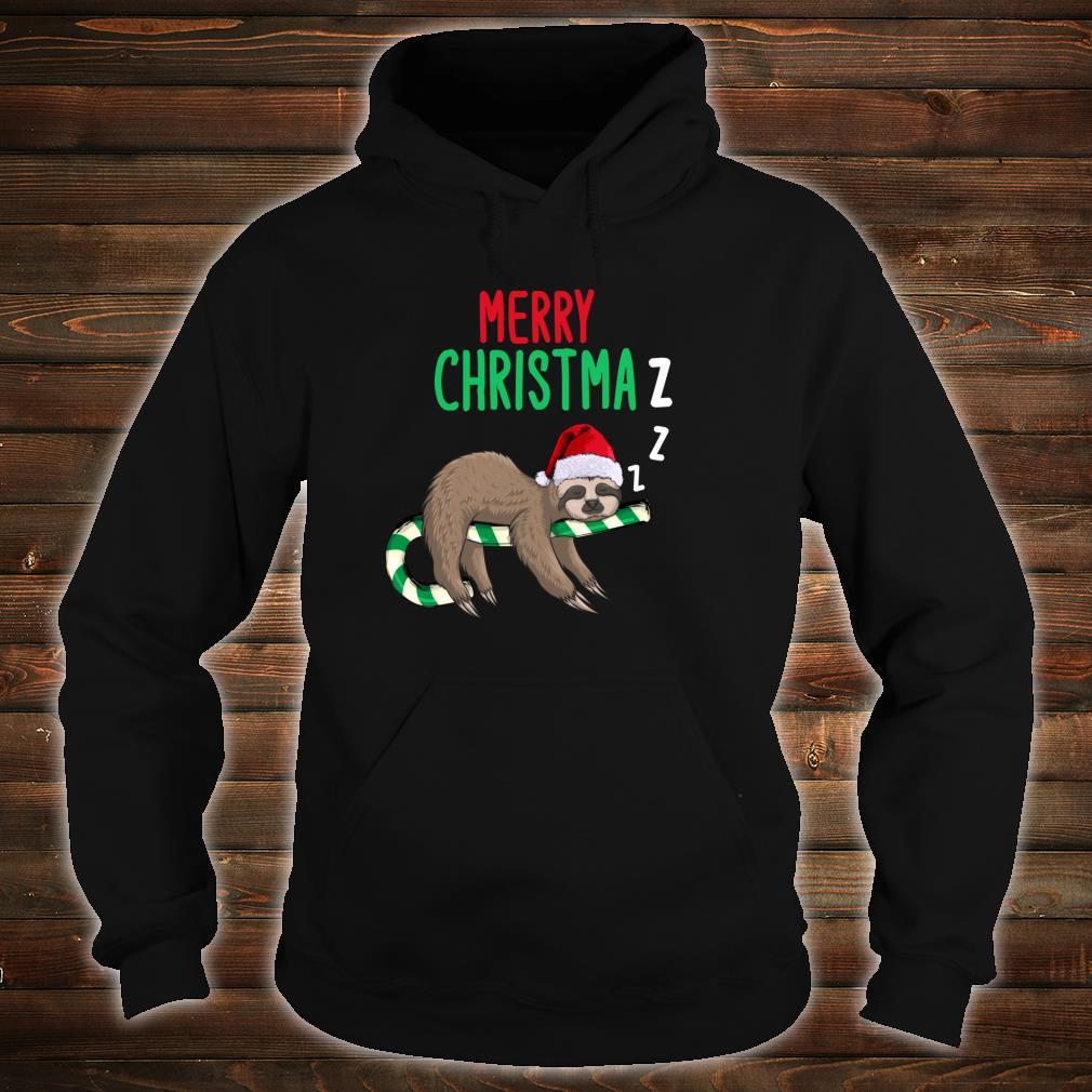Merry Christmaz Faultier Weihnachten Schläft Zuckerstange Shirt hoodie