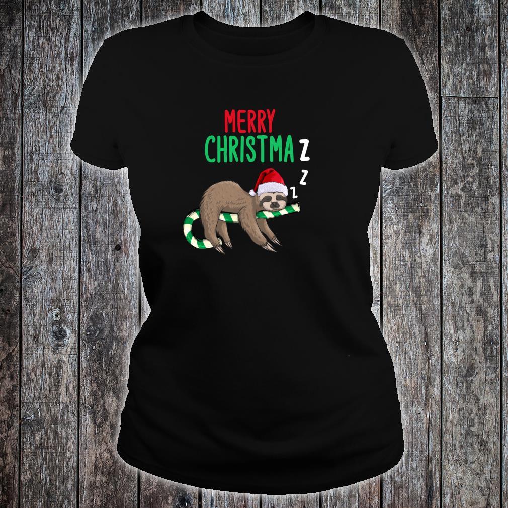 Merry Christmaz Faultier Weihnachten Schläft Zuckerstange Shirt ladies tee
