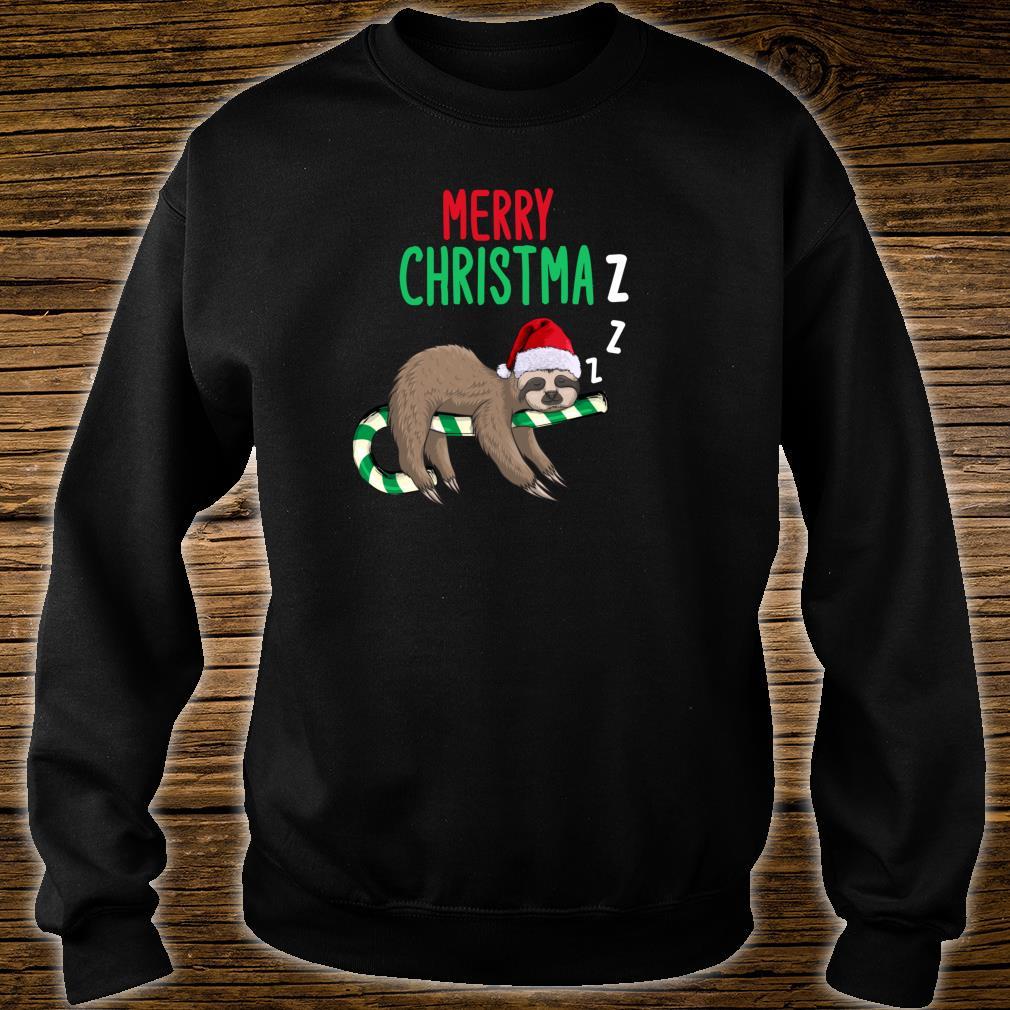 Merry Christmaz Faultier Weihnachten Schläft Zuckerstange Shirt sweater
