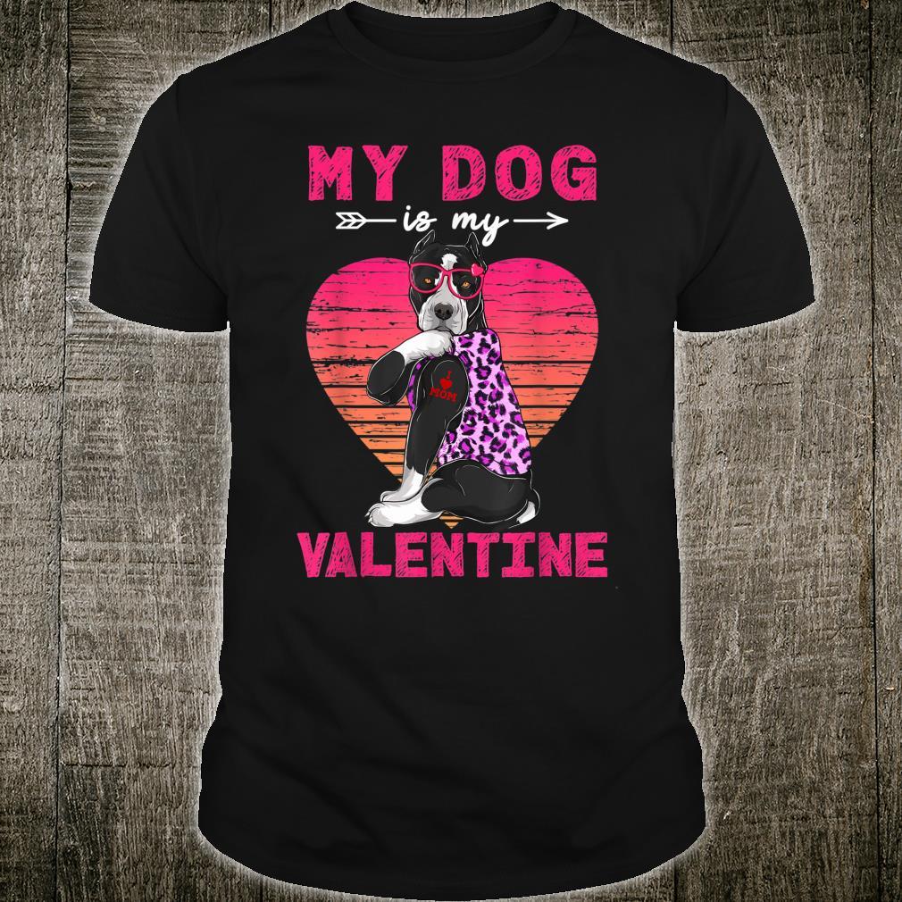 My Dog Is My Valentine Pitbull Dog Leopard Valentine Day Shirt