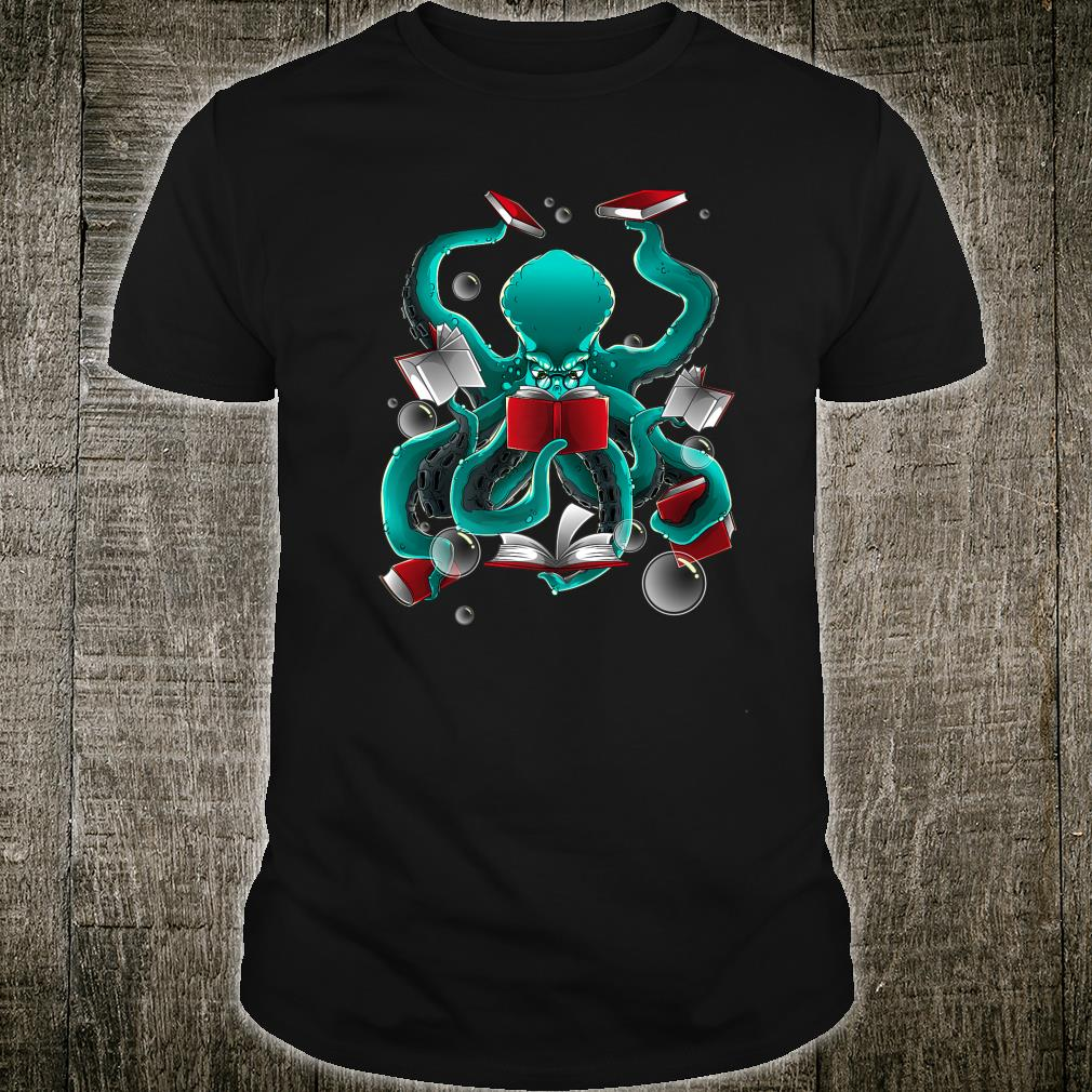 Octopus With 8 Books Cool Seafood Fans Reading Shirt