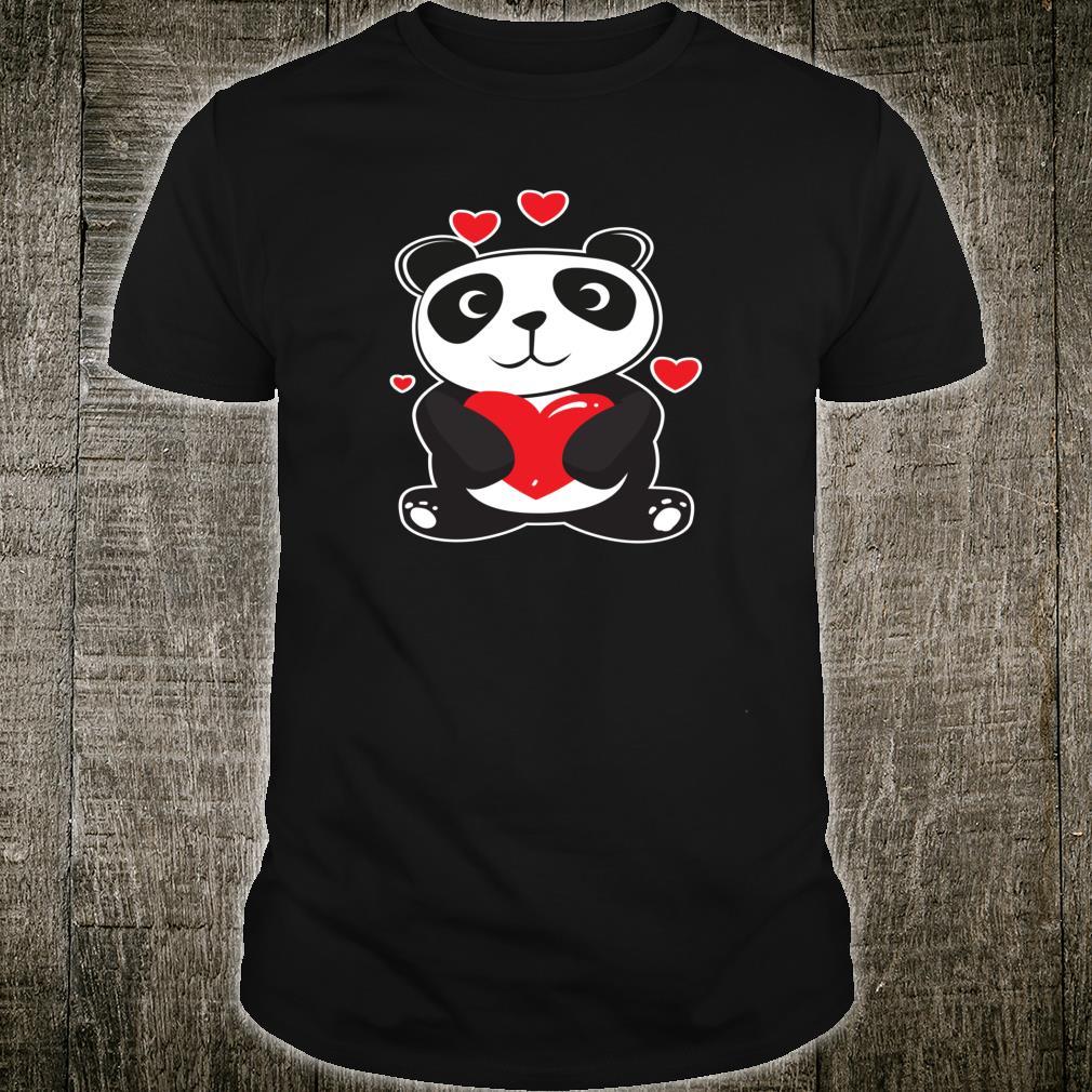 Panda Love Cute Hearts Panda Cuddle Design Bear Shirt