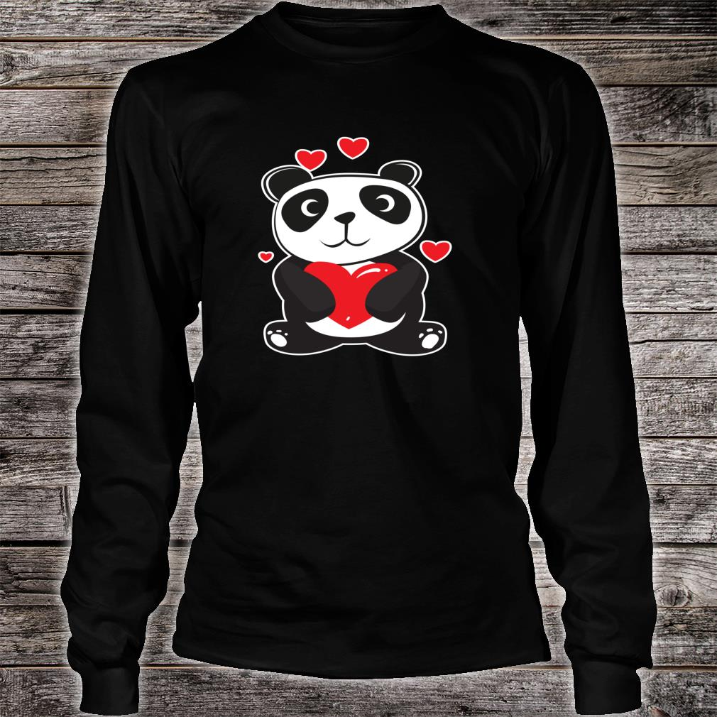 Panda Love Cute Hearts Panda Cuddle Design Bear Shirt long sleeved