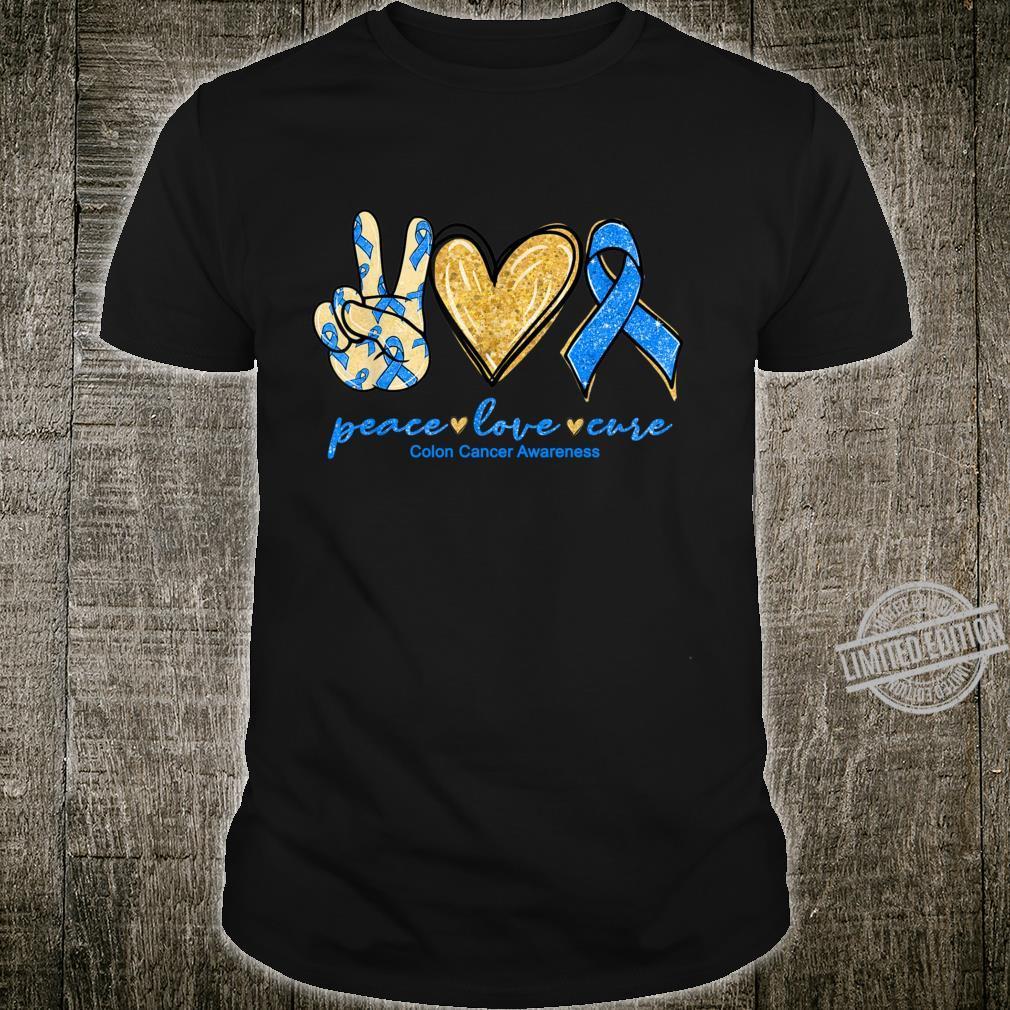 Peace Love Cure Ribbon Colon Cancer Awareness Shirt