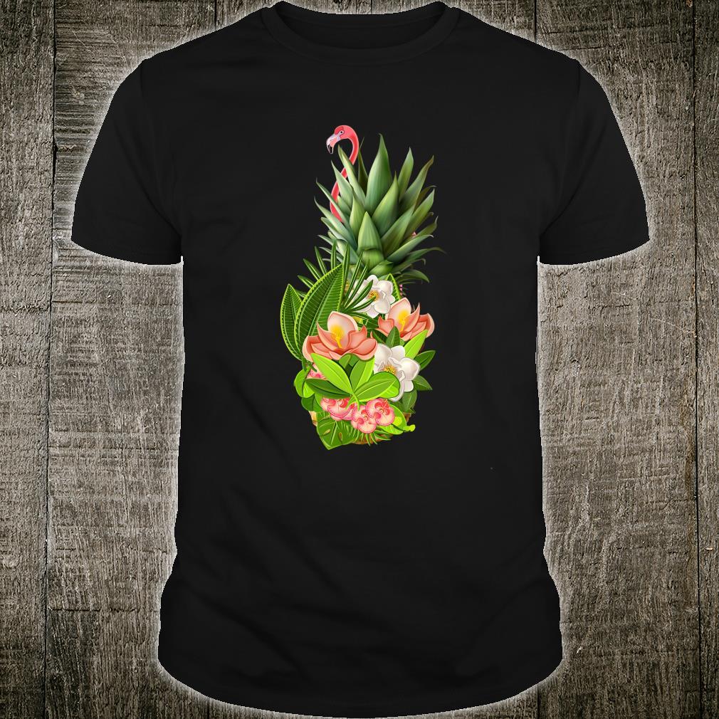 Pineapple Flowers With Flamingo Aloha Hawaii Shirt
