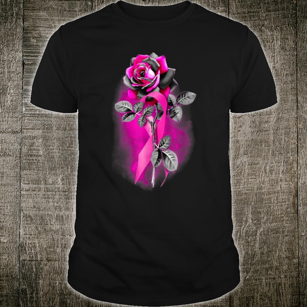 Pink Ribbon Rose Flower Breast Cancer Warrior Shirt