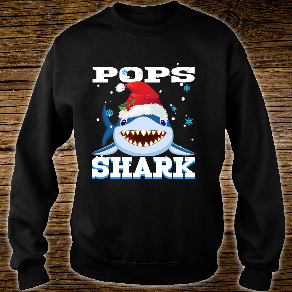 Pops Shark Santa Hat Christmas Grandpa Shark Shirt sweater