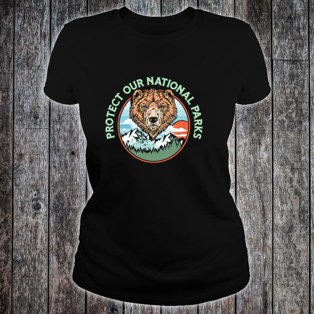 Protect Our National Parks Retro Grizzly Bear Shirt ladies tee