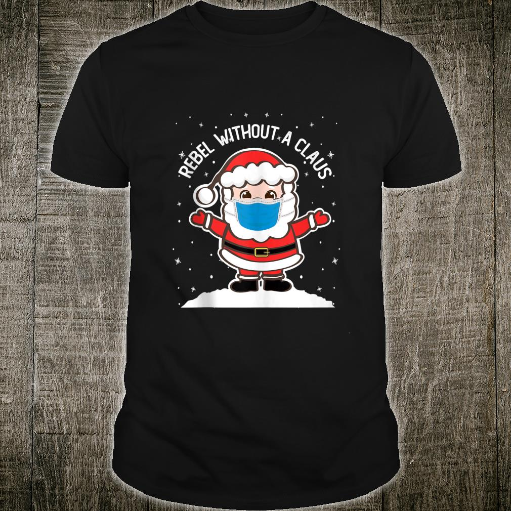 Rebel without a Claus Santa Mask Christmas Pajama Shirt