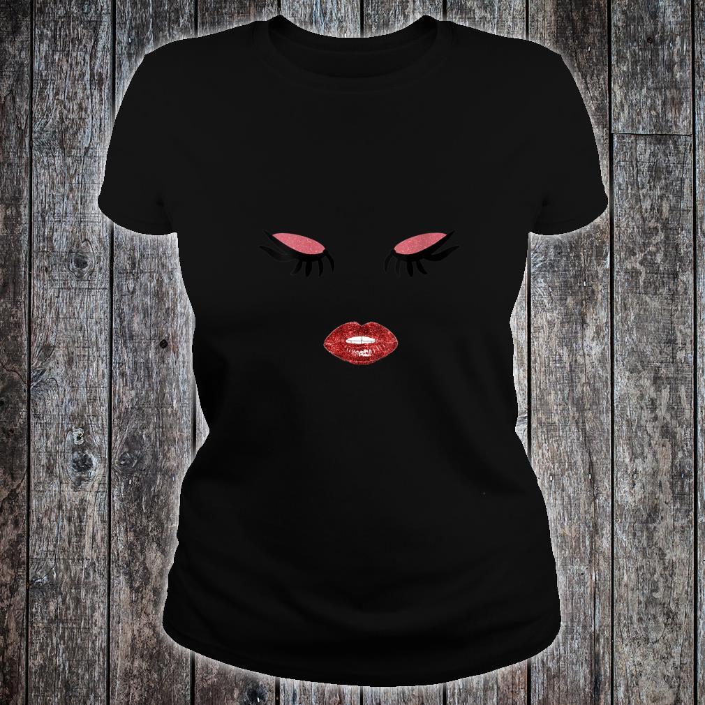 Red Lips Lipstick Eyelashes Makeup Artist Shirt ladies tee