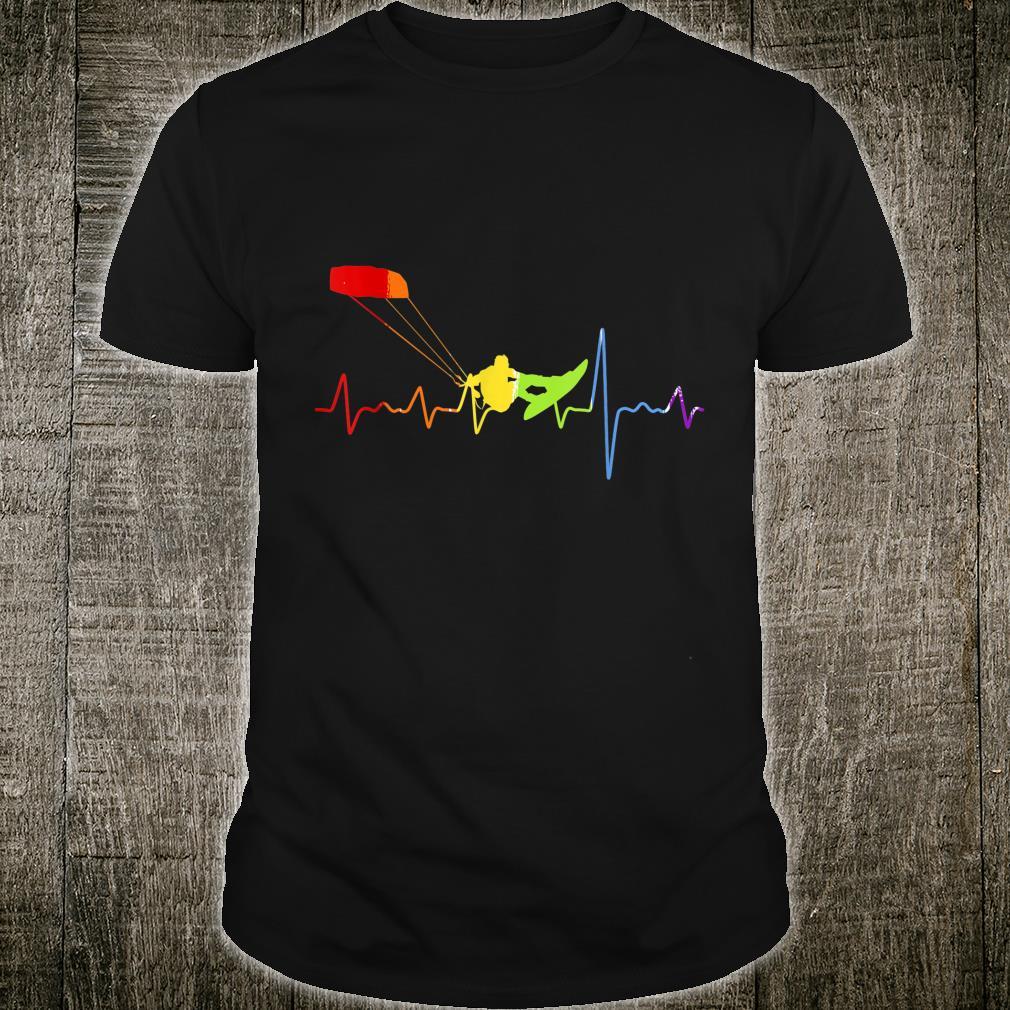 Regenbogen Herzschlag Kitesurfen Shirt